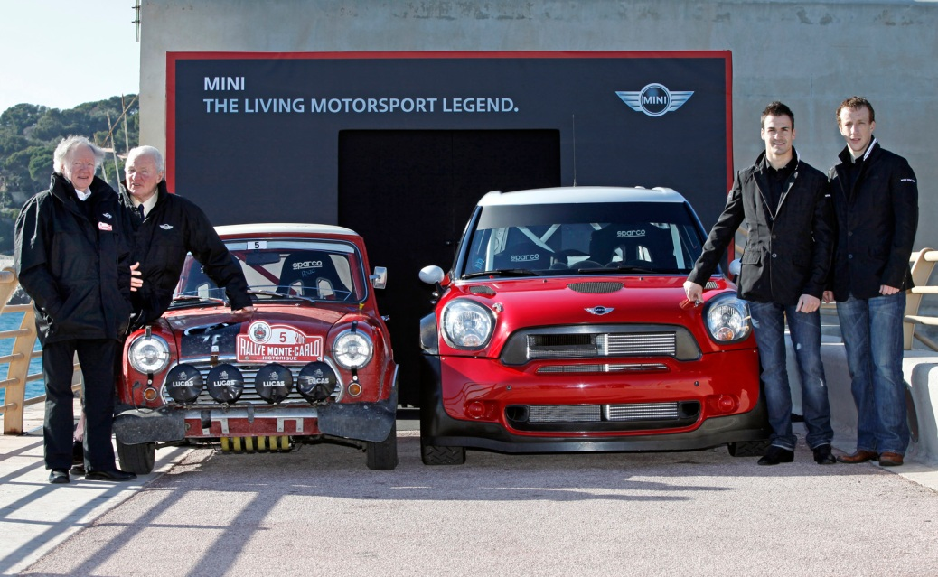 (L-R) Rauno Aaltonen, Paddy Hopkirk, Dani Sordo & Kris Meeke - Picture by MINI WRC Team.