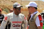 Nasser Saleh Al-Attiyah jokes with HRH Prince Feisal Al-Hussein.