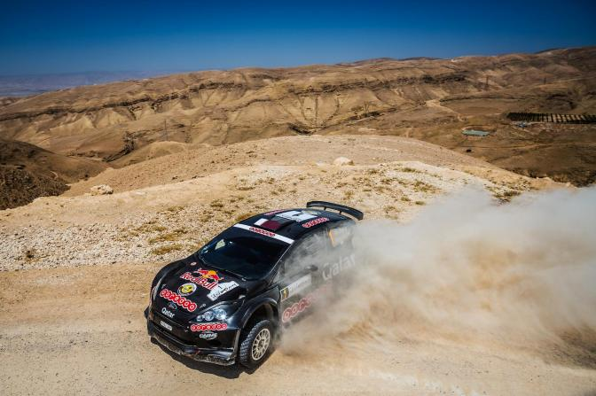 Nasser Saleh Al-Attiyah sideways to victory in the Jordan Rally.